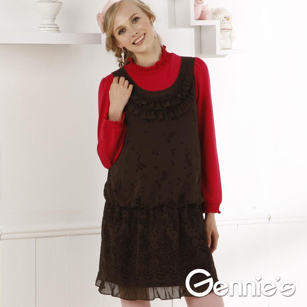 Gennie's奇妮- 輕薄雪紡孕婦背心洋裝G2W16(棕)
