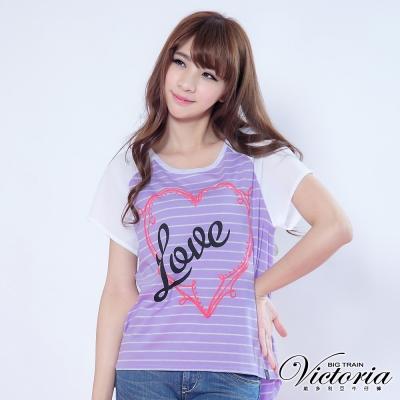 Victoria 雪紡配布袖條紋TEE-女-紫