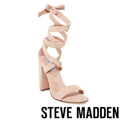 STEVE MADDEN-COSMIC 一字綁帶繞踝粗高跟涼鞋-粉色