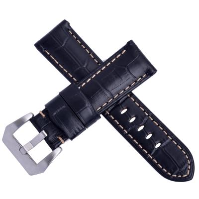 Panerai 沛納海/軍錶代用鱷魚竹節壓紋真皮錶帶-黑/車米白線