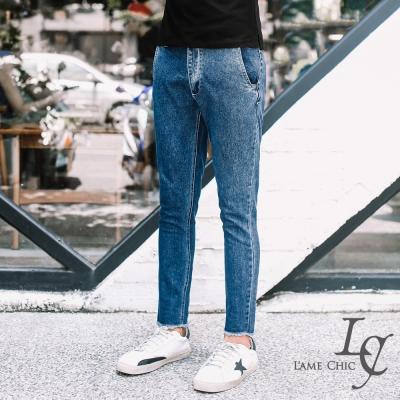 L-AME-CHIC-休閒褲腳刺繡窄管修身九分長褲
