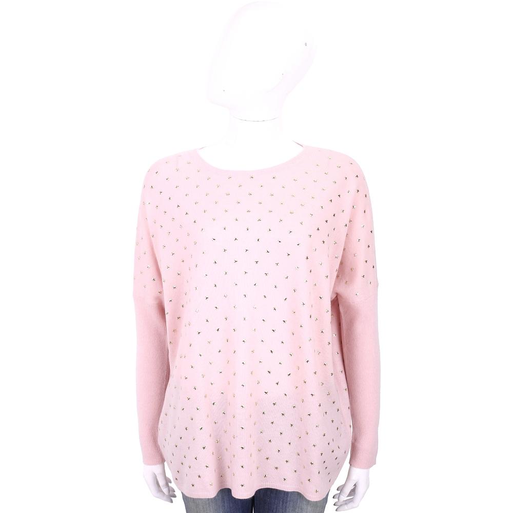 ALLUDE 喀什米爾粉色星星鉚釘飛鼠袖針織羊毛衫
