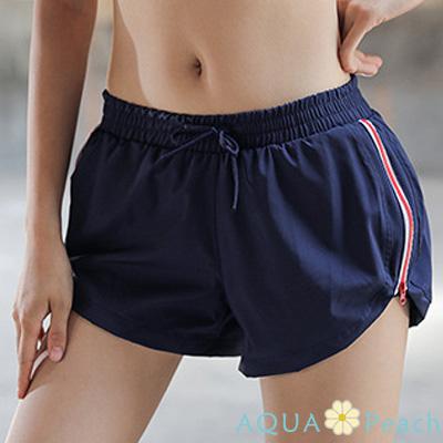 運動褲 側開拉鍊邊條運動短褲 (藏青色)-AQUA Peach