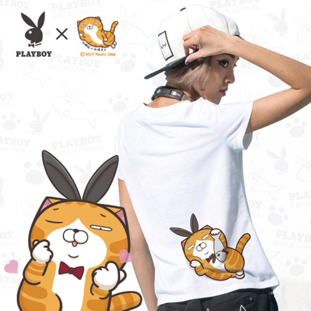 PLAYBOY X白爛貓嗆跩聯名T恤-捨不得吃款-白色M