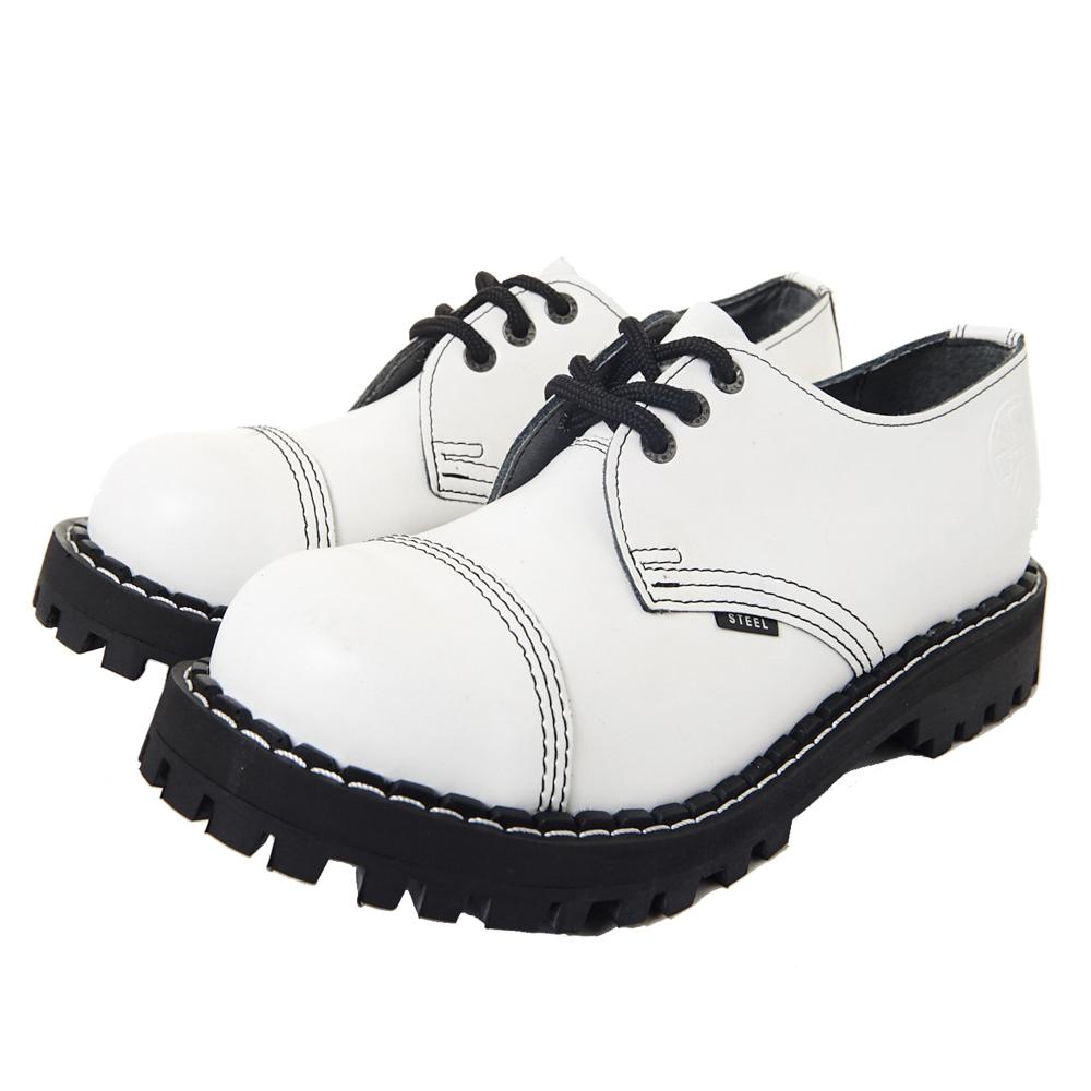 STEEL BOOTS歐洲經典3孔鐵頭鞋-白色