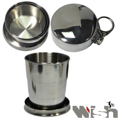 《WISH》攜帶式不鏽鋼伸縮環保杯(三折式)