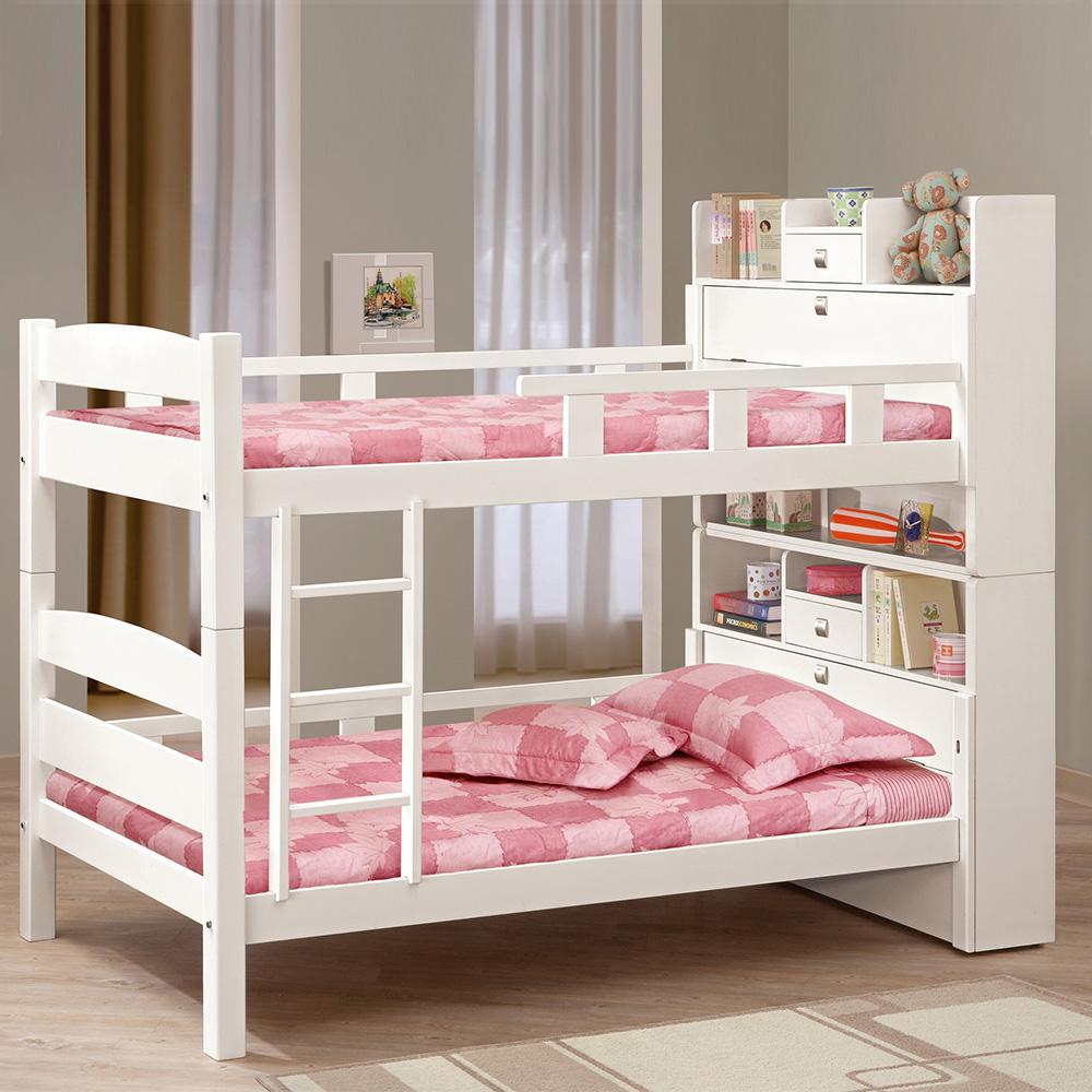 Boden-潔妮3.7尺白色書櫃型雙層床架