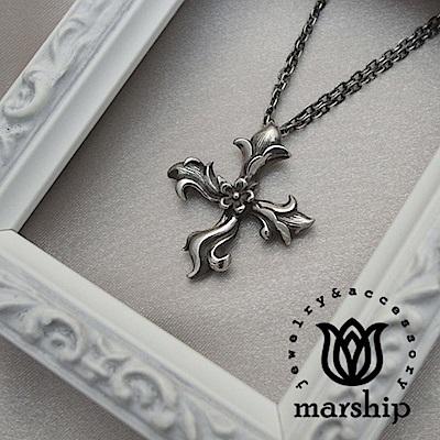 Marship 日本銀飾品牌 花朵十字架項鍊 雙層鍊款 925純銀 古董銀款