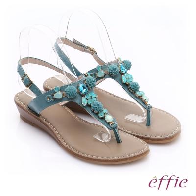 effie個性涼夏 真皮花飾寶石小坡跟T字涼鞋 藍