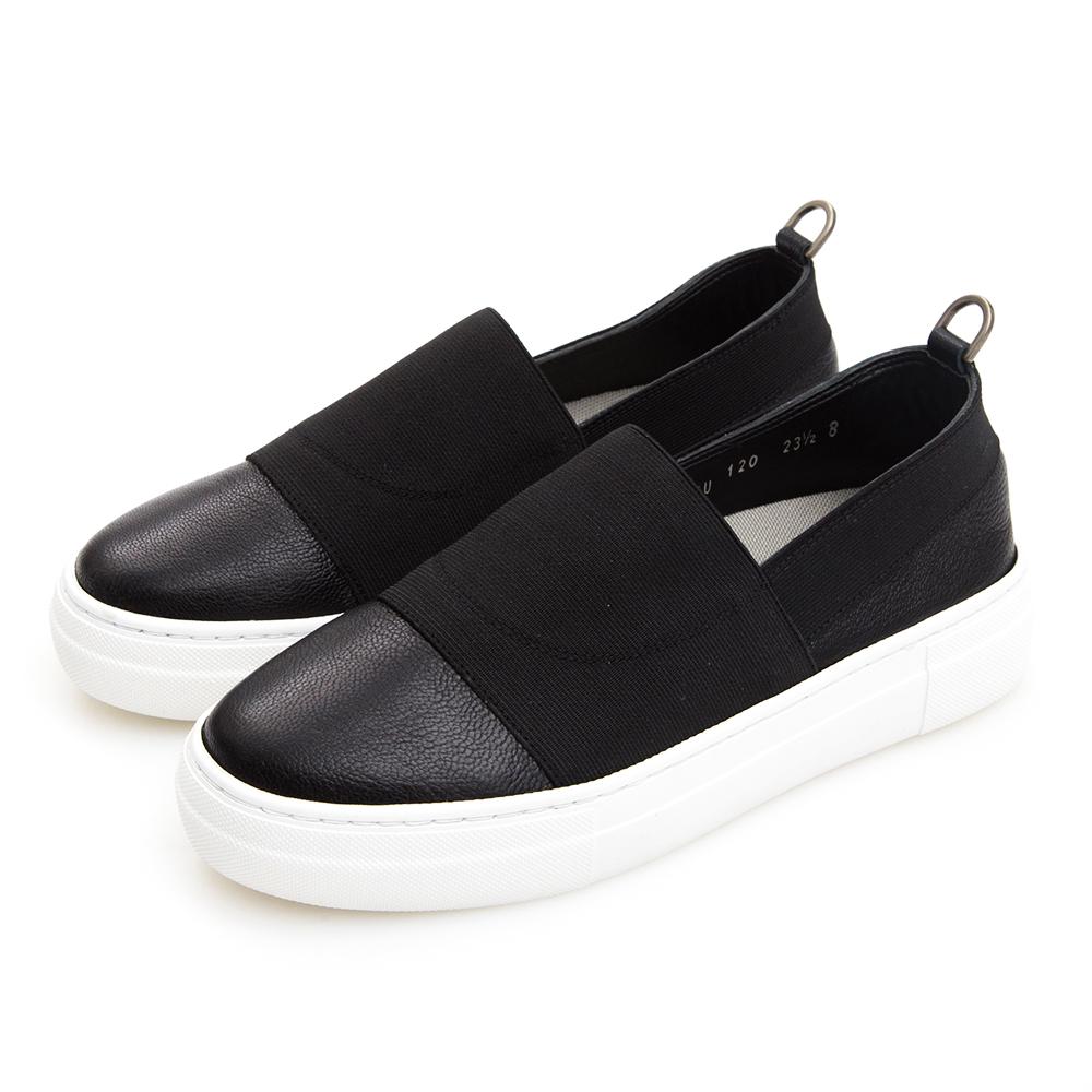 Camille's 韓國空運-正韓製-牛皮拼接鬆緊織布懶人休閒鞋-黑色