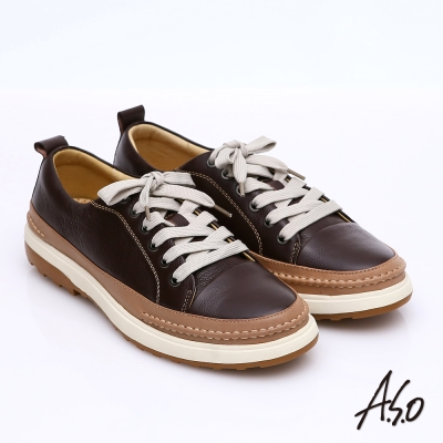 A.S.O 樂活休閒 全真皮拼接綁帶奈米休閒鞋 咖啡色