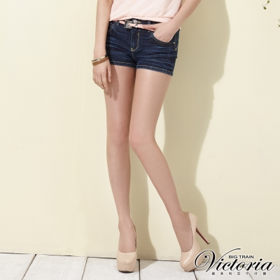 Victoria 中腰後腰剪接繡花短褲-女-深藍