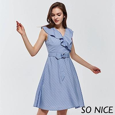 SO NICE都會條紋荷葉領洋裝