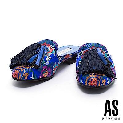 拖鞋 AS 復古魅力大流蘇點綴印花織錦布平底拖鞋-藍