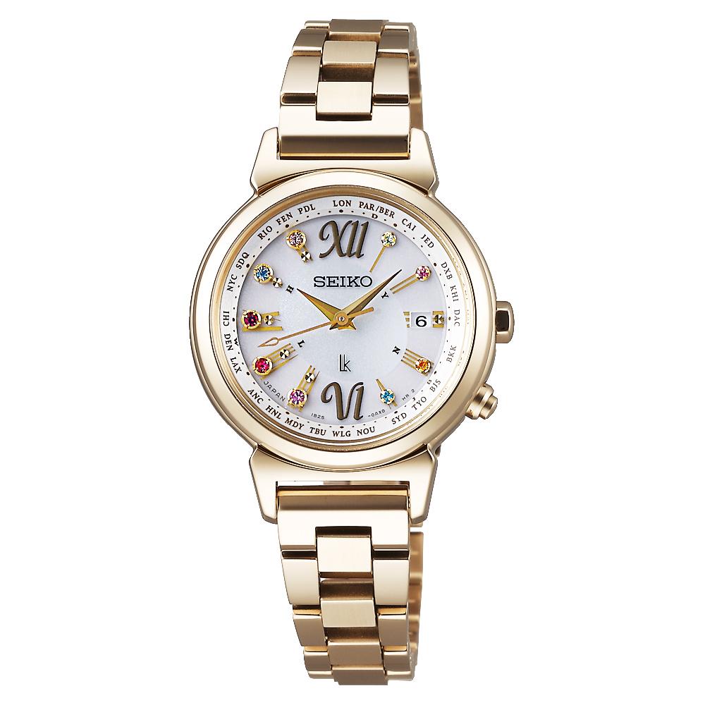 SEIKO LUKIA 美好時光限量太陽能電波腕錶(SSVV026J)-銀x鍍金/28mm