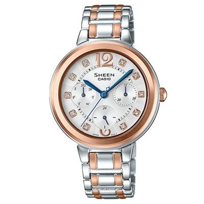 SHEEN 華麗之美水晶時刻玫瑰金腕錶(SHE-3048BSG-7A)-銀X玫瑰金邊34mm