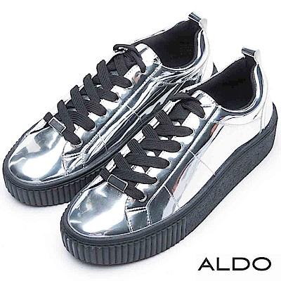 ALDO 前衛銀色流線交叉綁帶厚底休閒鞋~時髦銀色