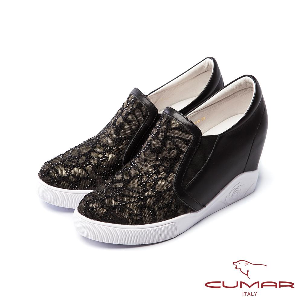 CUMAR慵懶主義-透膚鏤空蕾絲鑽石樂福懶人休閒鞋-黑