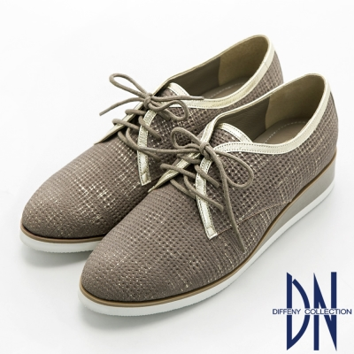 DN 個性英倫 羊皮擦色壓紋綁帶厚底休閒鞋-灰