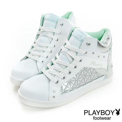 PLAYBOY-青春萬花筒-幾何圖案內增高休閒鞋