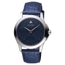 GUCCI古馳 G-TIMELESS 蜜蜂手錶-藍/39mm