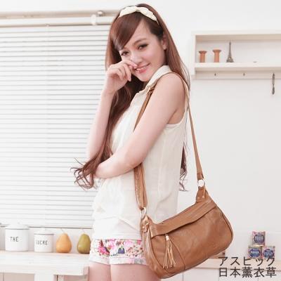 日本 薰衣草 - 斜背包 側背包 可愛甜美流蘇包 - 土黃色