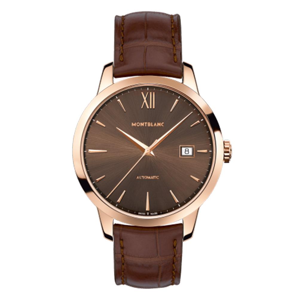 MONTBLANC 萬寶龍 傳承系列 玫瑰金咖啡面盤111875 -39mms男仕腕表