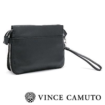 Vince Camuto 素面拉鍊手拿肩背兩用包-黑色