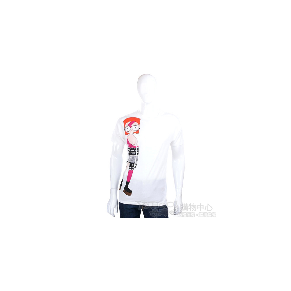 M.B.M.J 白色人物塗鴉短袖T恤