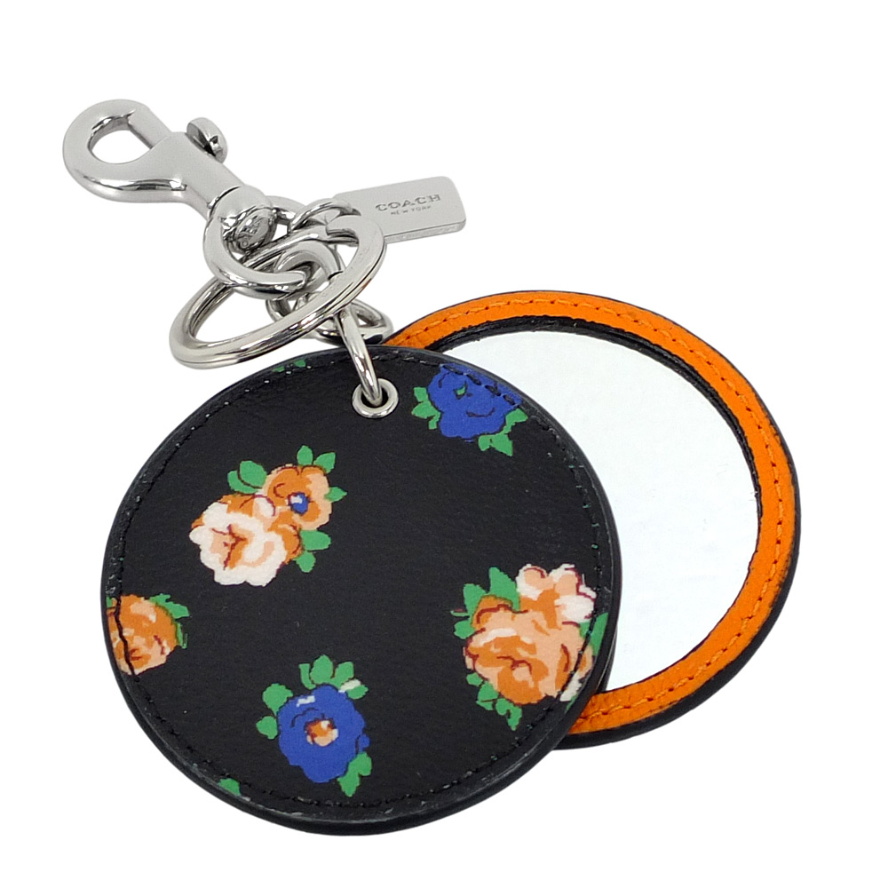 COACH雙色花紋圓型化妝鏡雙扣環鑰匙圈