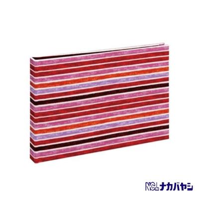 日本 Nakabayashi 自黏相本 麻布系列 條紋相本(紅)