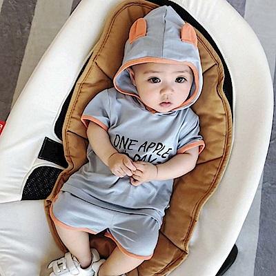 Baby unicorn 藍色字母連帽短袖套裝2件組