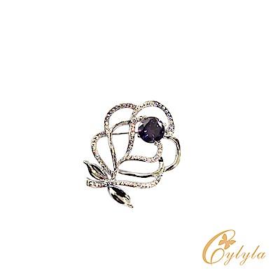 Cylyla思琳娜 施華洛世奇元素玫瑰白水晶胸針別針B10529G @ Y!購物