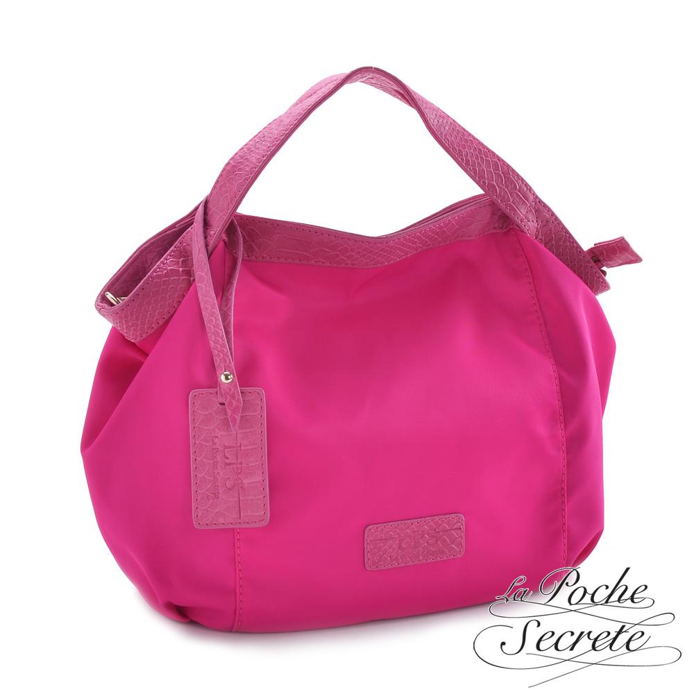 La Poche Secrete 真皮包包-牛皮MIX尼龍品牌吊牌包(小)- 甜美桃