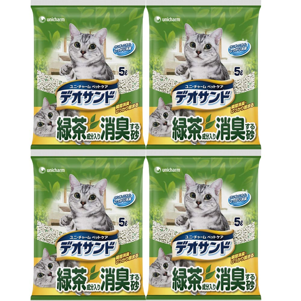 日本Unicharm消臭大師 消臭礦砂 綠茶香 5L X 4包入