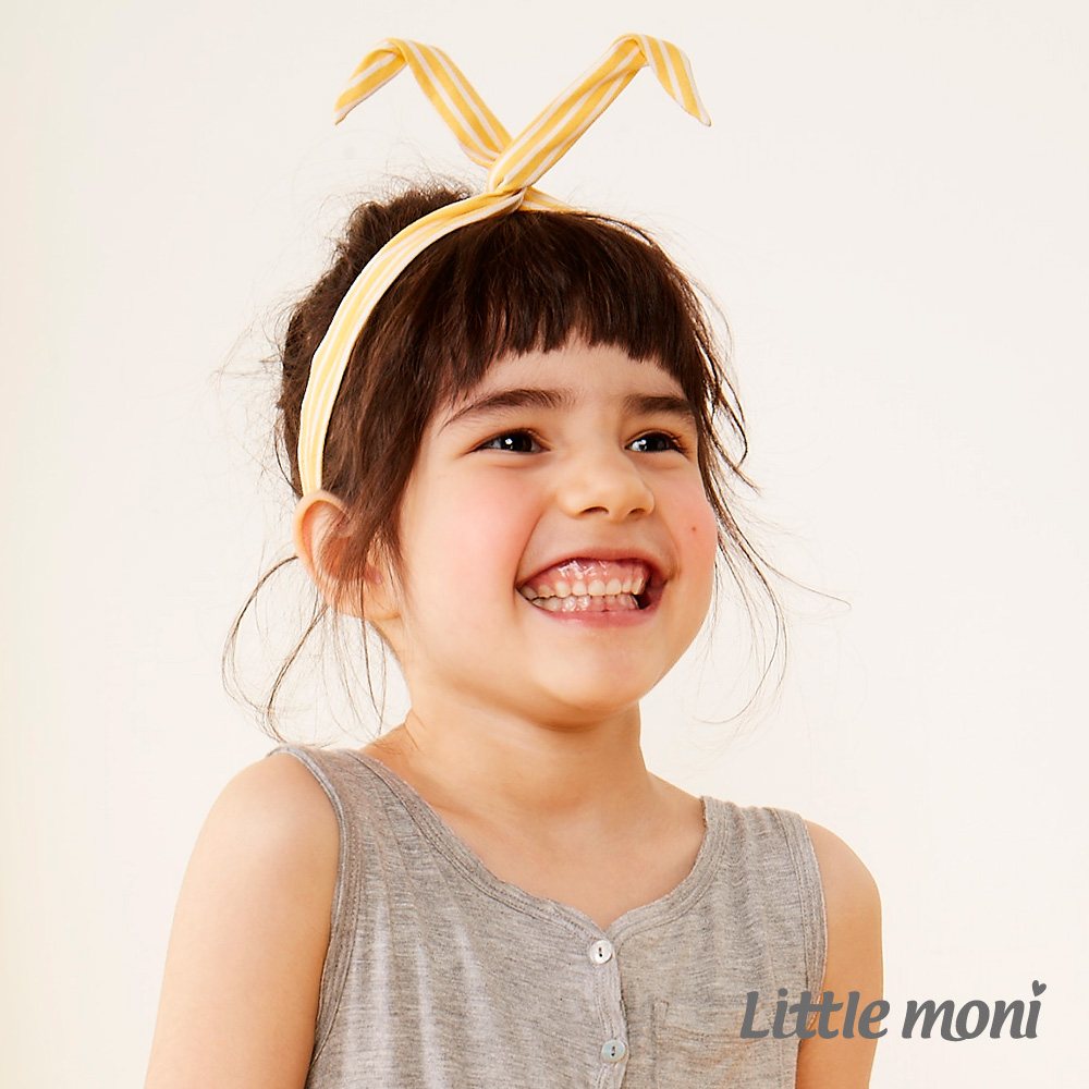 Little moni 輕甜女孩條紋造型髮帶 黃色