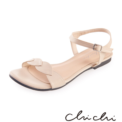 Chichi 葉子一字側扣環平底涼鞋*米色