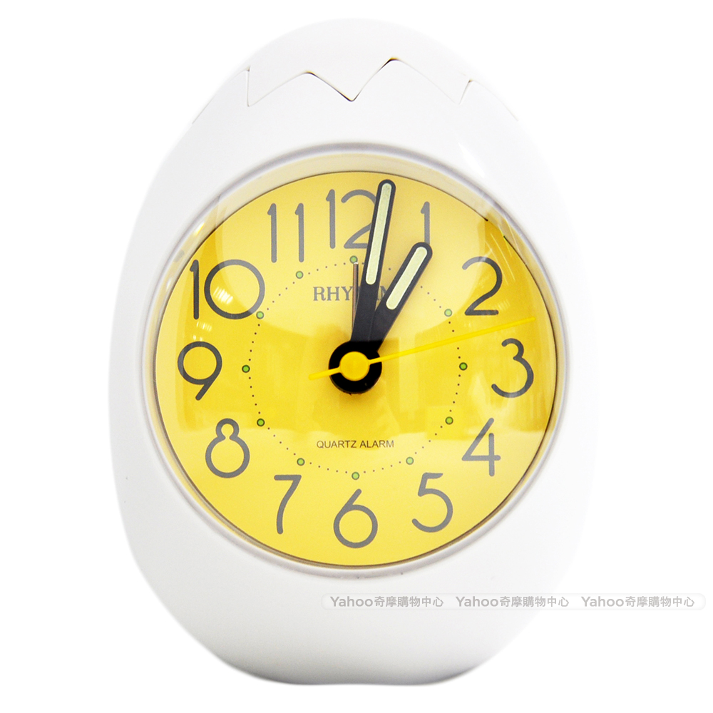 RHYTHM 麗聲 不倒翁創意雞蛋造型鬧鐘-清新白/9cm