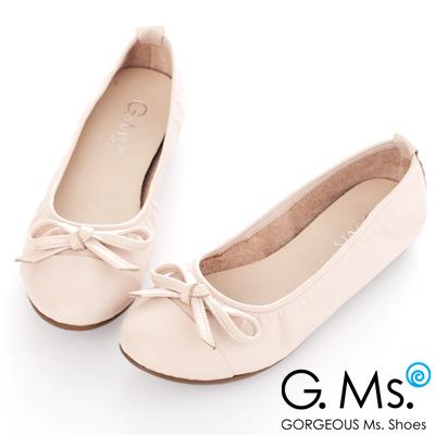 G.Ms. MIT系列-牛皮經典蝴蝶結娃娃鞋-甜米白