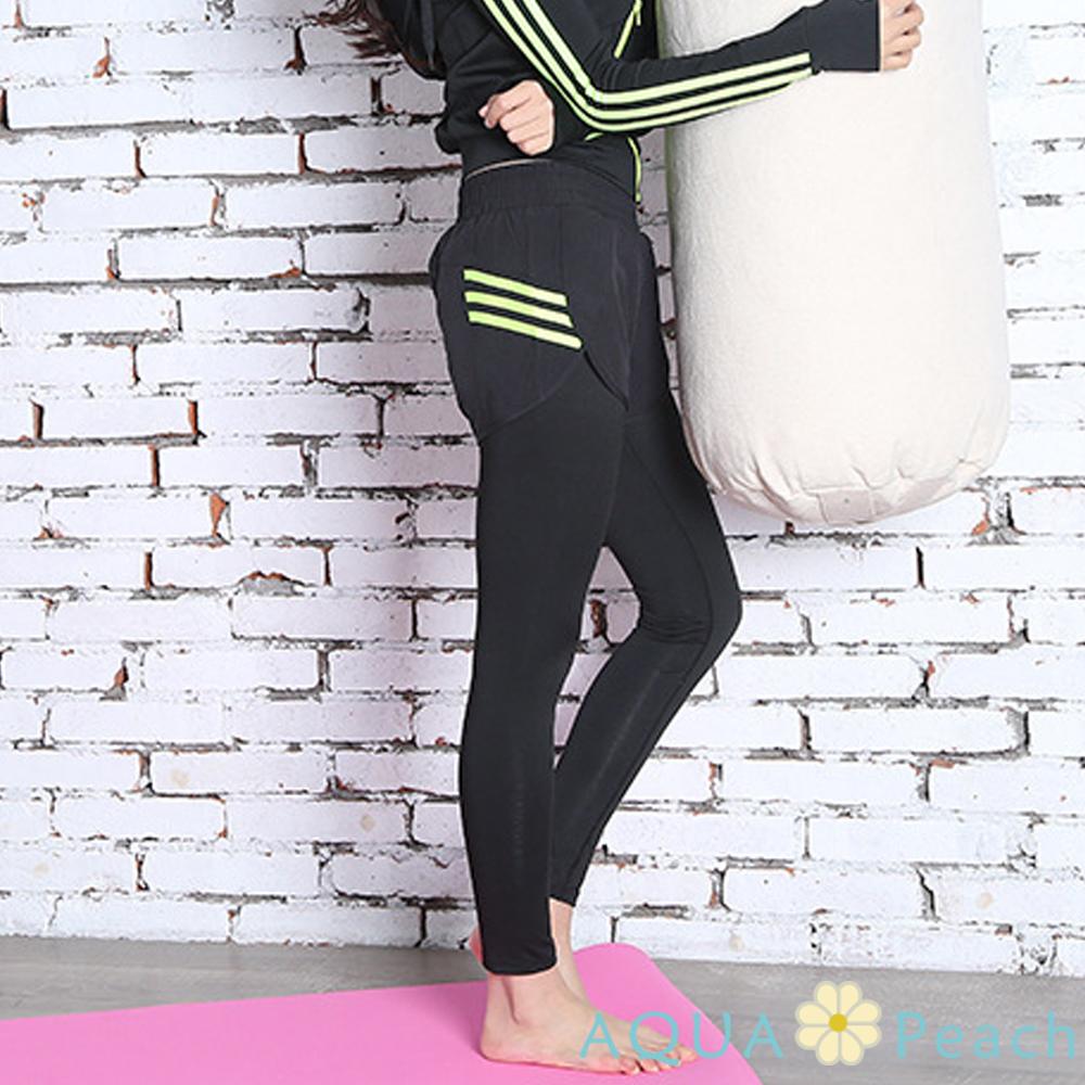 運動褲 螢光三條槓假兩件彈性長褲 (綠色)-AQUA Peach