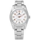 Sapphire 簡潔大方夜光藍寶石水晶不鏽鋼手錶-白x玫瑰金/29mm