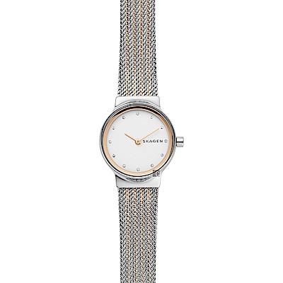Skagen Freja 晶鑽小錶徑米蘭帶女錶-銀x雙色/26mm