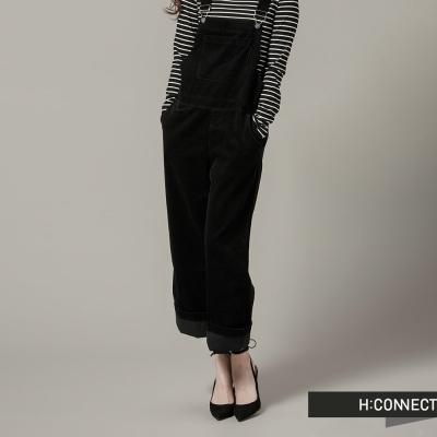 H-CONNECT-韓國品牌-女裝-修身絨面吊帶褲-黑