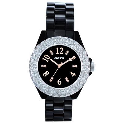 GOTO 晶亮風尚陶瓷晶鑽腕錶-黑x玫/38mm