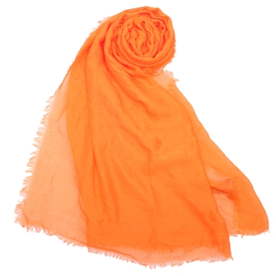 COACH經典馬車LOGO披肩圍巾-橘色