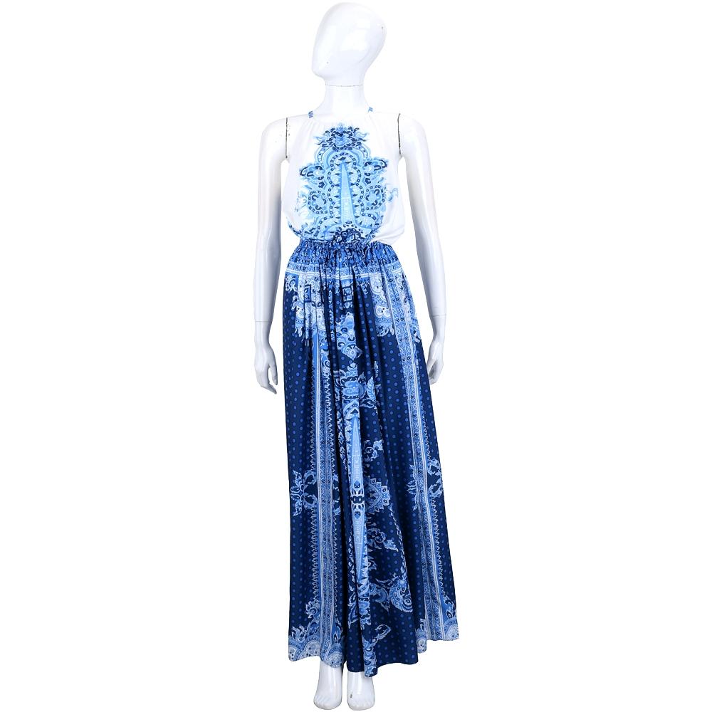 TWIN SET 藍x白印花圖騰束腰設計削肩洋裝