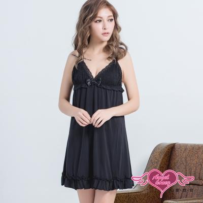 性感睡衣 香氛夜晚 甜美蕾絲兩件式連身睡衣組(黑F) AngelHoney天使霓裳