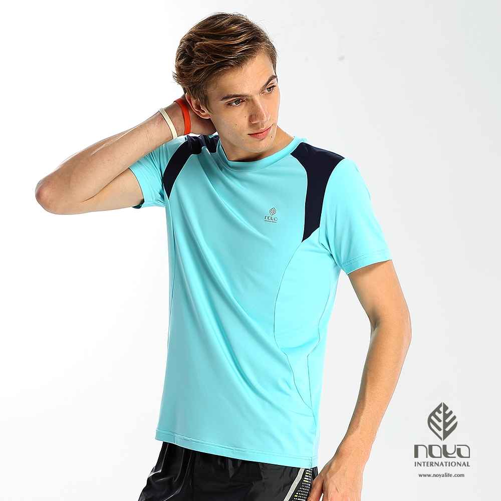 【NOYA】防曬速乾MIT配色運動圓領衫-水藍青(N62MA12)