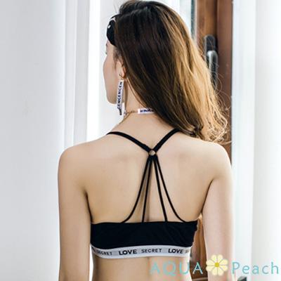 運動內衣 傘狀美背字母運動內衣 (黑色)-AQUA Peach