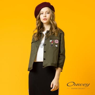 OUWEY歐薇-個性貼布繡短版外套-綠